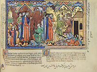 """(left) A Costly Transgression Revealed: Confused and aggrieved by the defeat at Ai, Joshua prostrates himself before the Ark of the Covenant (depicted here as a rich reliquary chest) and begs for an explanation. It is discovered that Achan, a man of the tribe of Judah, took forbidden spoil from the accursed town of Jericho. Later Achan confesses the sin to Joshua; he and his family show Joshua a bar of gold (here painted silver), a rich garment, and two hundred shekels. The Lord points accusingly at the greedy family from the heavens. To appease Him, they must be destroyed. (Joshua 7:19ñ23); (right) Achan Stoned: Although Joshua appears loathe to do so, he orders the stoning of Achan, his entire family, and his cattle. Later, the Israelites will destroy Achan's thatched dwelling; all the possessions of the transgressor must be done away with in order to appease the Lord. (Joshua 7:24ñ25). Excerpt of the first edition of the """"Crusader Bible"""", 13th century manuscript kept in the Pierpont Morgan Library in New York, on natural parchment made of animal skin published by Scriptorium SL in Valencia, Spain. © Scriptorium / Manuel Cohen"""