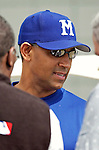 25 February 2003: Montreal Expos General Manager Omar Minaya talks with the media prior to a Spring Training game against the Florida Marlins at Ft. Lauderdale Stadium in Fort Lauderdale, Florida. Mandatory Credit: Ed Wolfstein Photo