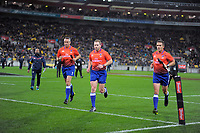 The match officials run in at halftime during the Steinlager Series international rugby match between the New Zealand All Blacks and France at Westpac Stadium in Wellington, New Zealand on Saturday, 16 June 2018. Photo: Dave Lintott / lintottphoto.co.nz