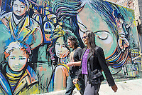 Activities in the Bushwick neighborhood of Brooklyn in New York on Saturday, April 27, 2013. The neighborhood is undergoing gentrification changing from a rough and tumble mix of Hispanic and industrial to a haven for hipsters, forcing many of the long-time residents out because of rising rents.. (©Richard B. Levine)