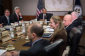 United States President Barack Obama meets with his National Security Council at the State Department, February 25, 2016 in Washington, DC. According to the White House, the meeting will focus on the situation with ISIS and Syria, along with other regional issues.<br /> Credit: Drew Angerer / Pool via CNP