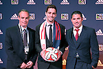 16 January 2014: Steven Neumann, with technical director Mike Burns (left) and head coach Jay Heaps (right), was selected with the fourth overall pick by the New England Revolution. The 2014 Major League Soccer SuperDraft was held at the NSCAA Annual Convention in the Pennsylvania Convention Center in Philadelphia, Pennsylvania.