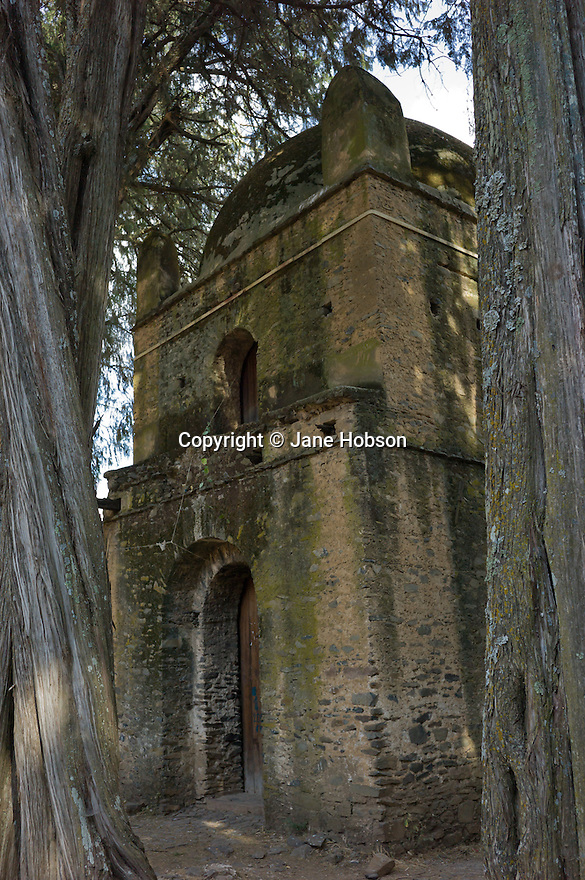 26/01/12. Gondar, Ethiopia. Kuskuam church (Qusquam Mariam) and the ruined palace of Queen Mentowab sit atop a hill above Gondar. Photo credit: Jane Hobson.