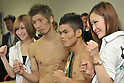 (2L-R) Yota Sato (JPN), Suriyan Sor Rungvisai (THA),.MARCH 26, 2012 - Boxing :.Yota Sato of Japan and Suriyan Sor Rungvisai of Thailand pose with ring girls after the official weigh-in for the WBC super flyweight title bout at Korakuen Hall in Tokyo, Japan. (Photo by Hiroaki Yamaguchi/AFLO)