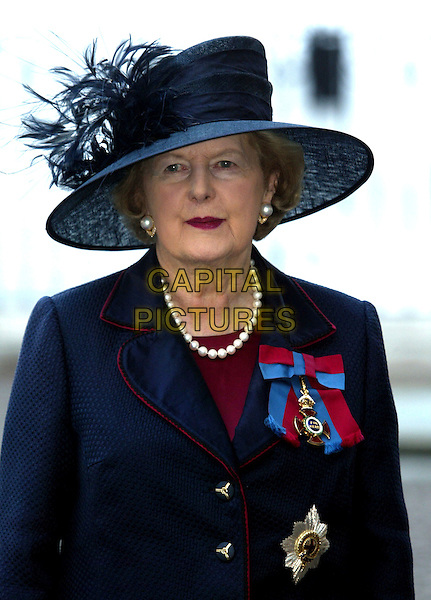 MARGARET THATCHER.60th Anniversary Of End Of World War 2.National Commemoration Day.London 10 July 2005 .Ref: FNW.WWII two headshot portrait Margret hat black feathers pearl necklace red lipstick.www.capitalpictures.com.sales@capitalpictures.com.© Capital Pictures.
