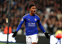 28th December 2019; London Stadium, London, England; English Premier League Football, West Ham United versus Leicester City; Demarai Gray of Leicester City celebrates after scoring his sides 2nd goal in the 56th minute to make it 2-1 - Strictly Editorial Use Only. No use with unauthorized audio, video, data, fixture lists, club/league logos or 'live' services. Online in-match use limited to 120 images, no video emulation. No use in betting, games or single club/league/player publications