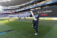 Martin Guptill goes into bat.<br /> New Zealand Black Caps v Australia.Tri-Series International Twenty20 cricket. Eden Park, Auckland, New Zealand. Friday 16 February 2018. &copy; Copyright Photo: Andrew Cornaga / www.Photosport.nz