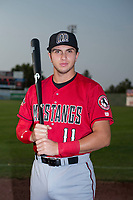Billings Mustangs first baseman Leonardo Seminati (11) poses for a photo prior to a Pioneer League game against the Idaho Falls Chukars at Melaleuca Field on August 22, 2018 in Idaho Falls, Idaho. The Idaho Falls Chukars defeated the Billings Mustangs by a score of 5-3. (Zachary Lucy/Four Seam Images)