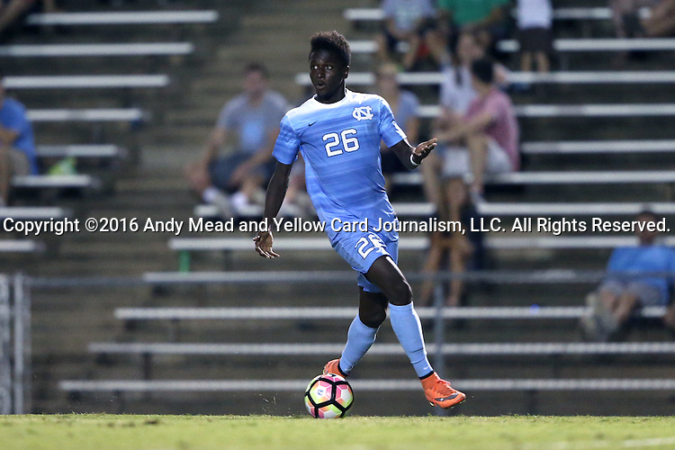 16 September 2016: North Carolina's Jelani Pieters. The University of North Carolina Tar Heels hosted the University of Pittsburgh Panthers in Chapel Hill, North Carolina in a 2016 NCAA Division I Men's Soccer match. UNC won the game 1-0.