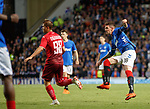 23.08.2018 Rangers v Ufa: Kyle Lafferty tries a curling shot from the edge of the box