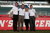 Cary, North Carolina  - Saturday September 09, 2017: The match officials: Jordan Davis, Aaron Gallagher, Karen Abt, and Benjamin Wooten prior to a regular season National Women's Soccer League (NWSL) match between the North Carolina Courage and the Houston Dash at Sahlen's Stadium at WakeMed Soccer Park. The Courage won the game 1-0.
