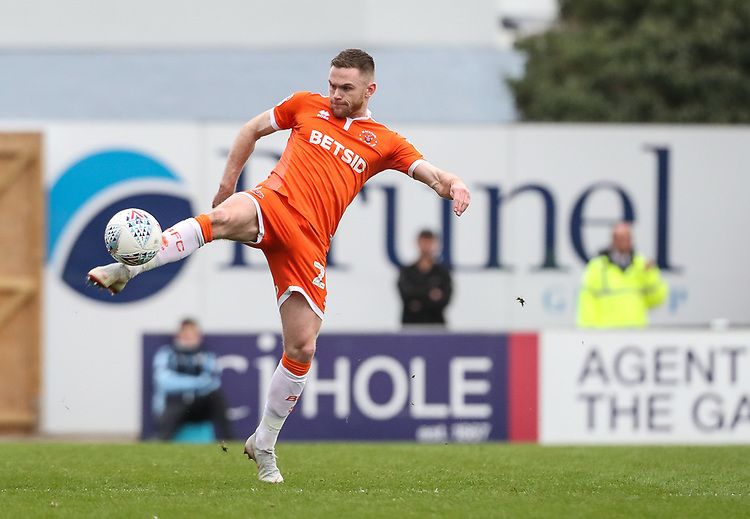 Blackpool's Oliver Turton <br /> <br /> Photographer Andrew Kearns/CameraSport<br /> <br /> The EFL Sky Bet League Two - Bristol Rovers v Blackpool - Saturday 2nd March 2019 - Memorial Stadium - Bristol<br /> <br /> World Copyright © 2019 CameraSport. All rights reserved. 43 Linden Ave. Countesthorpe. Leicester. England. LE8 5PG - Tel: +44 (0) 116 277 4147 - admin@camerasport.com - www.camerasport.com