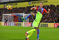 Martin Kelly of Crystal Palace beats Sadio Mane of Liverpool to a header during the EPL - Premier League match between Crystal Palace and Liverpool at Selhurst Park, London, England on 29 October 2016. Photo by Steve McCarthy.