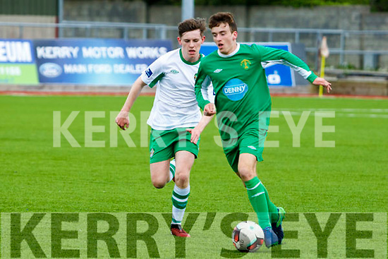 Kerry's Adria Miravet gets away from Cabinteely's Eoin Massey SSE Airtricity U17 League Kerry  V  Cabinteely at Mounthawk Park on Sunday