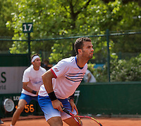 Paris, France, 22 June, 2016, Tennis, Roland Garros, Mens Doubles Jean-Julien Rojer (NED) and his partner Horia Tecau (ROU) (L)<br /> Photo: Henk Koster/tennisimages.com