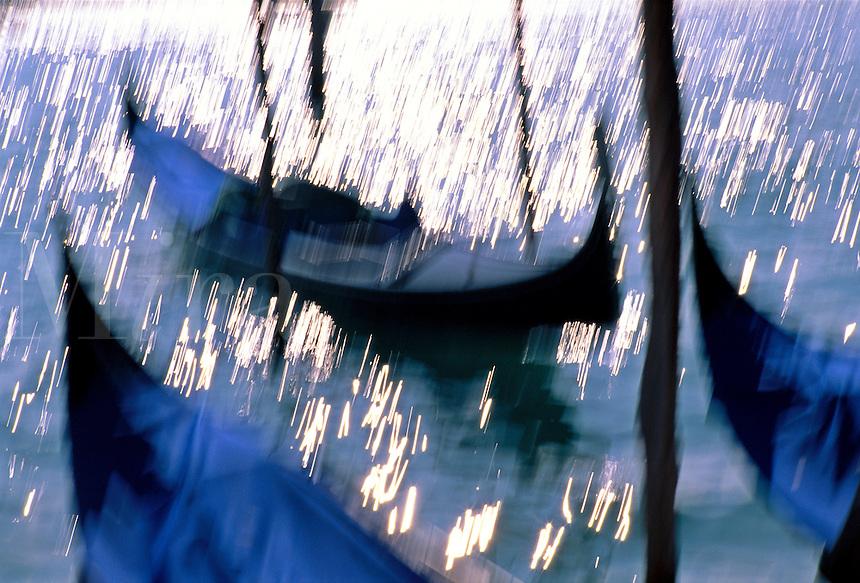 Italy, Venice. Gondolas, blurred motion