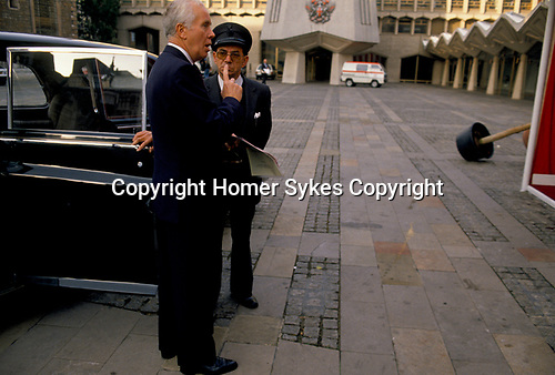 'CITY OF LONDON', THE HIGH SHERIF OF LONDON WITH HIS  DRIVER AT THE GUILDHALL, 1992