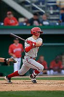 Auburn Doubledays J.T. Arruda (4) bats during a NY-Penn League game against the Batavia Muckdogs on September 1, 2019 at Dwyer Stadium in Batavia, New York.  Auburn defeated Batavia 3-1.  (Mike Janes/Four Seam Images)