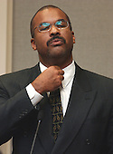 Eastern High School (Washington, DC) football coach, Burnell Irby, gestures during his testimony in the trial of sniper suspect John Allen Muhammad at the Virginia Beach Circuit Court in Virginia Beach, Virginia on October 28, 2003.  Irby was witness to the shooting of Pascal Charlot in 2002. <br /> Credit: Adrin Snider - Pool via CNP