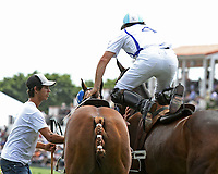 WELLINGTON, FL - MARCH 26:  Valiente's Adolfo Cambiaso changes horses during the chukker.  Scenes from the final of the 26 goal USPA Gold Cup, at the International Polo Club, Palm Beach on March 26, 2017 in Wellington, Florida. (Photo by Liz Lamont/Eclipse Sportswire/Getty Images)