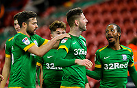 Preston North End's Paul Gallagher celebrates scoring his side's first goal with teammates<br /> <br /> Photographer Alex Dodd/CameraSport<br /> <br /> The EFL Sky Bet Championship - Middlesbrough v Preston North End - Wednesday 13th March 2019 - Riverside Stadium - Middlesbrough<br /> <br /> World Copyright &copy; 2019 CameraSport. All rights reserved. 43 Linden Ave. Countesthorpe. Leicester. England. LE8 5PG - Tel: +44 (0) 116 277 4147 - admin@camerasport.com - www.camerasport.com