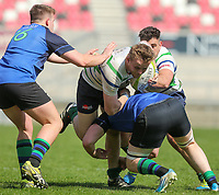 Monday 22nd April 2019 | 2019 McCrea Cup Final<br /> <br /> Connor McKee during the McCrea Cup final between Queens 2s and Grosvenor at Kingspan Stadium, Ravenhill Park, Belfast. Northern Ireland. Photo John Dickson/Dicksondigital