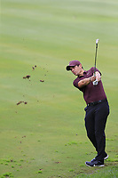 Adrien Saddier (FRA) plays his 2nd shot on the 14th hole during Friday's storm delayed Round 2 of the Andalucia Valderrama Masters 2018 hosted by the Sergio Foundation, held at Real Golf de Valderrama, Sotogrande, San Roque, Spain. 19th October 2018.<br /> Picture: Eoin Clarke | Golffile<br /> <br /> <br /> All photos usage must carry mandatory copyright credit (&copy; Golffile | Eoin Clarke)