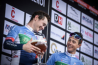 Podium with teammates Thomas Boudat (FRA/Total Direct Energie) and Niki Terpstra (NED/Total Direct Energie)<br /> <br /> <br /> Circuit de Wallonie 2019<br /> One Day Race: Charleroi – Charleroi 192.2km (UCI 1.1.)<br /> Bingoal Cycling Cup 2019<br /> <br /> <br /> Circuit de Wallonie 2019<br /> One Day Race: Charleroi – Charleroi 192.2km (UCI 1.1.)<br /> Bingoal Cycling Cup 2019