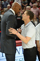 Arkansas coach Eric Musselman (right) and Vanderbilt coach Jerry Stackhouse speak Wednesday, Jan. 15, 2020, before the start of the first half in Bud Walton Arena. Check out nwaonline.com/photos for a gallery from the game. (NWA Democrat-Gazette/Andy Shupe)