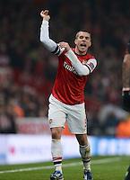 FUSSBALL  CHAMPIONS LEAGUE  ACHTELFINALE  HINSPIEL  2012/2013      FC Arsenal London - FC Bayern Muenchen       19.02.2013 Lukas Podolski (Arsenal) emotional