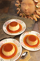 Mexican dessert of flan, a sweet custard with carmelized sauce.