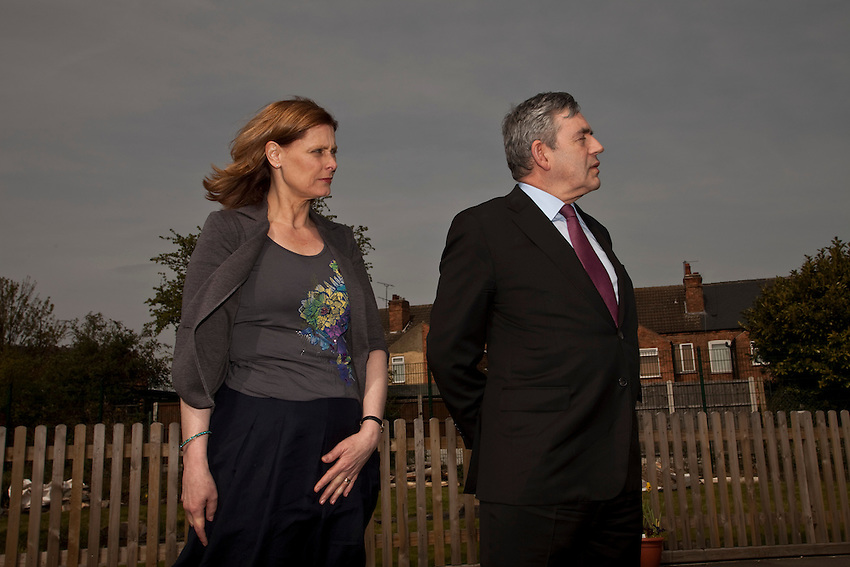 Gordon Brown campaigning in Nottingham alongside his wife Sarah at Arnold Mill Primary School. Gordon Brown is shown alongside his wife Sarah and and Local MP Vernon Coaker. Nottingham 24/4/10by Antonio Olmos/The Observer/NPA POOL