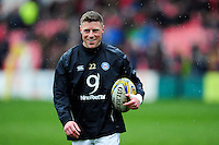 Rhys Priestland of Bath Rugby looks on during the pre-match warm-up. Aviva Premiership match, between Gloucester Rugby and Bath Rugby on March 26, 2016 at Kingsholm Stadium in Gloucester, England. Photo by: Patrick Khachfe / Onside Images