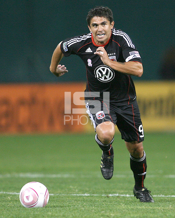 Jaime Moreno #99 of D.C. United races forward during an MLS match against Toronto FC that was the final appearance of D.C. United's Jaime Moreno at RFK Stadium, in Washington D.C. on October 23, 2010. Toronto won 3-2.