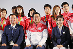 (L-R)  Hirokazu Matsuno,  Shinzo Abe,  Seiko Hashimoto, AUGUST 21, 2016 - : <br /> Japanese prime minister Shinzo Abe attended the exchange meeting with Japan National team member and <br /> their medalist<br /> at Japan House in Rio de Janeiro <br /> during the Rio 2016 Olympic Games in Rio de Janeiro, Brazil. <br /> (Photo by Yusuke Nakanishi/AFLO SPORT)