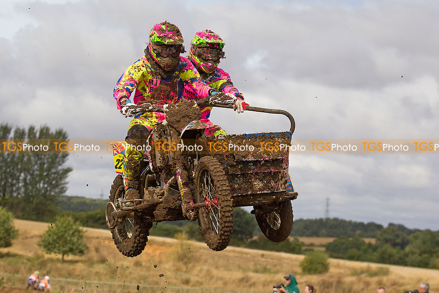 Emma Moulds and Niki Adair in action during ACU Sidecar Cross Round Six at Wakes Colne MX Circuit on 4th September 2016