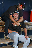 Kane County Cougars Tim Queck, Zack Shannon (32) before a Midwest League game against the Quad Cities River Bandits on August 24, 2019 at Modern Woodmen Park in Davenport, Iowa.  Quad Cities defeated defeated Kane County 8-2.  (Travis Berg/Four Seam Images)