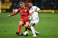 30th July 2020; Bankwest Stadium, Parramatta, New South Wales, Australia; A League Football, Adelaide United versus Perth Glory; Ben Halloran of Adelaide United and Dane Ingham of Perth Glory challenge for the ball