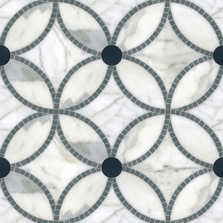 Esferas, a waterjet and hand-cut stone mosaic, shown in honed Calacatta, polished Bardiglio and Power Gray glass, is part of the Parterre Collection by New Ravenna.