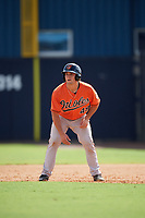 Baltimore Orioles Trevor Craport (49) leads off first base during an Instructional League game against the New York Yankees on September 23, 2017 at the Yankees Minor League Complex in Tampa, Florida.  (Mike Janes/Four Seam Images)