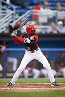 Batavia Muckdogs left fielder Isaiah White (18) during a game against the West Virginia Black Bears on June 28, 2016 at Dwyer Stadium in Batavia, New York.  Batavia defeated West Virginia 3-1.  (Mike Janes/Four Seam Images)