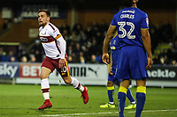 Paul Taylor of Bradford City celebrates scoring to make it 1-1 during the Sky Bet League 1 match between AFC Wimbledon and Bradford City at the Cherry Red Records Stadium, Kingston, England on 23 December 2017. Photo by Thomas Gadd.