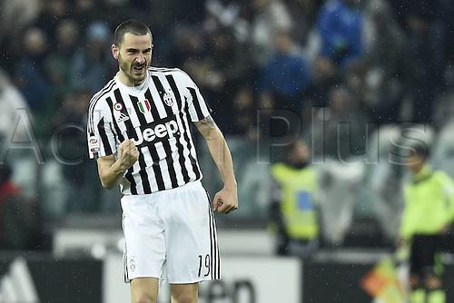 28.02.2016. Juventus Stadium, Turin, Italy. Serie A Football. Juventus versus Inter Milan.  Goal celebrations from Leonardo Bonucci
