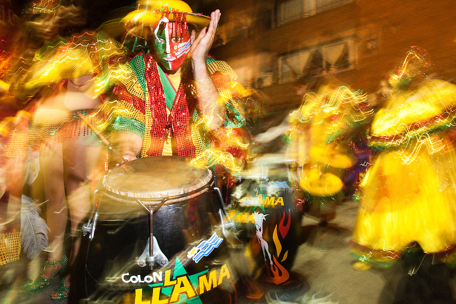 One of the most imporant elements of Carnaval in Uruguay is Candombe, an African drum rhythm played on tambor drums.  It was revitalized in the Americas by black slave descendents as a way by which to reclaim their cultural heritage and battle for civil rights.
