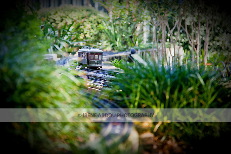 The Train Garden in the New Orleans Botanical Garden in Louisiana displays a replica of a Charles Street streetcar traveling through the city's distinctive, historical, and visually interesting French Quarter.
