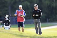 Miguel Angel Jimenez (ESP) and caddy Cliff on the 17th hole during Thursday's Round 1 of the 2017 Omega European Masters held at Golf Club Crans-Sur-Sierre, Crans Montana, Switzerland. 7th September 2017.<br /> Picture: Eoin Clarke | Golffile<br /> <br /> <br /> All photos usage must carry mandatory copyright credit (&copy; Golffile | Eoin Clarke)