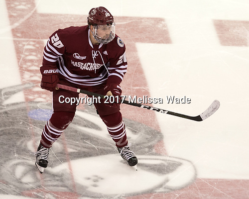 Brett Boeing (UMass - 20) - The Boston University Terriers defeated the University of Massachusetts Minutemen 3-1 on Friday, February 3, 2017, at Agganis Arena in Boston, Massachusetts.The Boston University Terriers defeated the visiting University of Massachusetts Amherst Minutemen 3-1 on Friday, February 3, 2017, at Agganis Arena in Boston, MA.