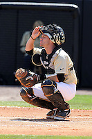 UCF Knights catcher Ryan Breen #9 during a game against the Siena Saints at the UCF Baseball Complex on March 4, 2012 in Orlando, Florida.  Central Florida defeated Siena 15-2.  (Mike Janes/Four Seam Images)