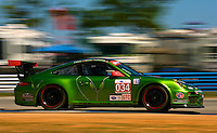 The #34 Porsche of Peter LeSaffre, Andrew Davis and Bob Faieta races through a turn during qualifying for the 12 Hours of Sebring, Sebring International Raceway, Sebring, FL, March 18, 2011.  (Photo by Brian Cleary/www.bcpix.com)