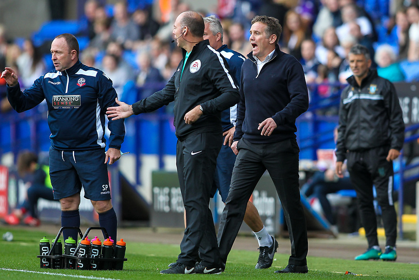 Bolton Wanderers' manager Phil Parkinson and assistant manager Steve Parkin<br /> <br /> Photographer Andrew Kearns/CameraSport<br /> <br /> The EFL Sky Bet Championship - Bolton Wanderers v Sheffield Wednesday - Saturday 14th October 2017 - Macron Stadium - Bolton<br /> <br /> World Copyright &copy; 2017 CameraSport. All rights reserved. 43 Linden Ave. Countesthorpe. Leicester. England. LE8 5PG - Tel: +44 (0) 116 277 4147 - admin@camerasport.com - www.camerasport.com